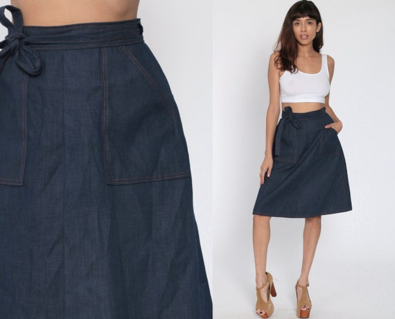 Denim Wrap Skirt 70s Skirt High Waisted Blue Jean Cotton Midi Pocket Boho 1970s Hippie Retro Vintage Bohemian Simple Extra Small xs s