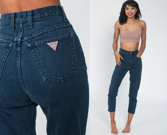 90s Guess Jeans 24 xs -- Mom Jeans ANKLE ZIP High Waist 80s Denim Pants Slim Dark Blue Tapered Leg 1980s Vintage Extra Small xs 0 Petite