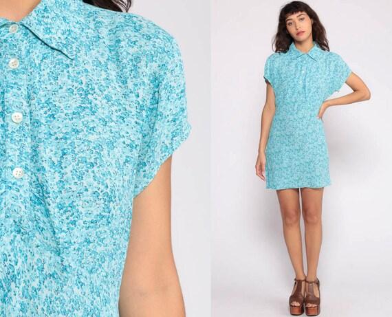 Floral Mini Dress 90s Grunge Button Up Blue 1990s Vintage Retro Sheath Polo Dress Short Sleeve Summer Minidress Rayon Large