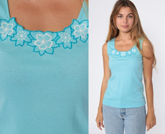 Floral Tank Top Turquoise Blue Tee 80s Shirt Embroidered Shirt Sleeveless Top Pastel Print 1980s Vintage Single Stitch Small Medium