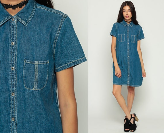 90s Denim Dress 80s Mini Jean Grunge Vintage 1990s Button Up High Neck Blue Short Sleeve Collar Shift Small