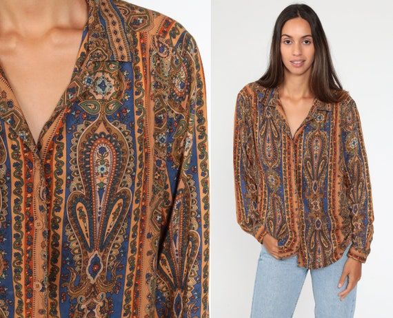 80s Paisley Blouse 90s Button Up Shirt Long Sleeve Top Psychedelic Collar Blouse Boho 1980s Vintage Blue Orange Medium Large