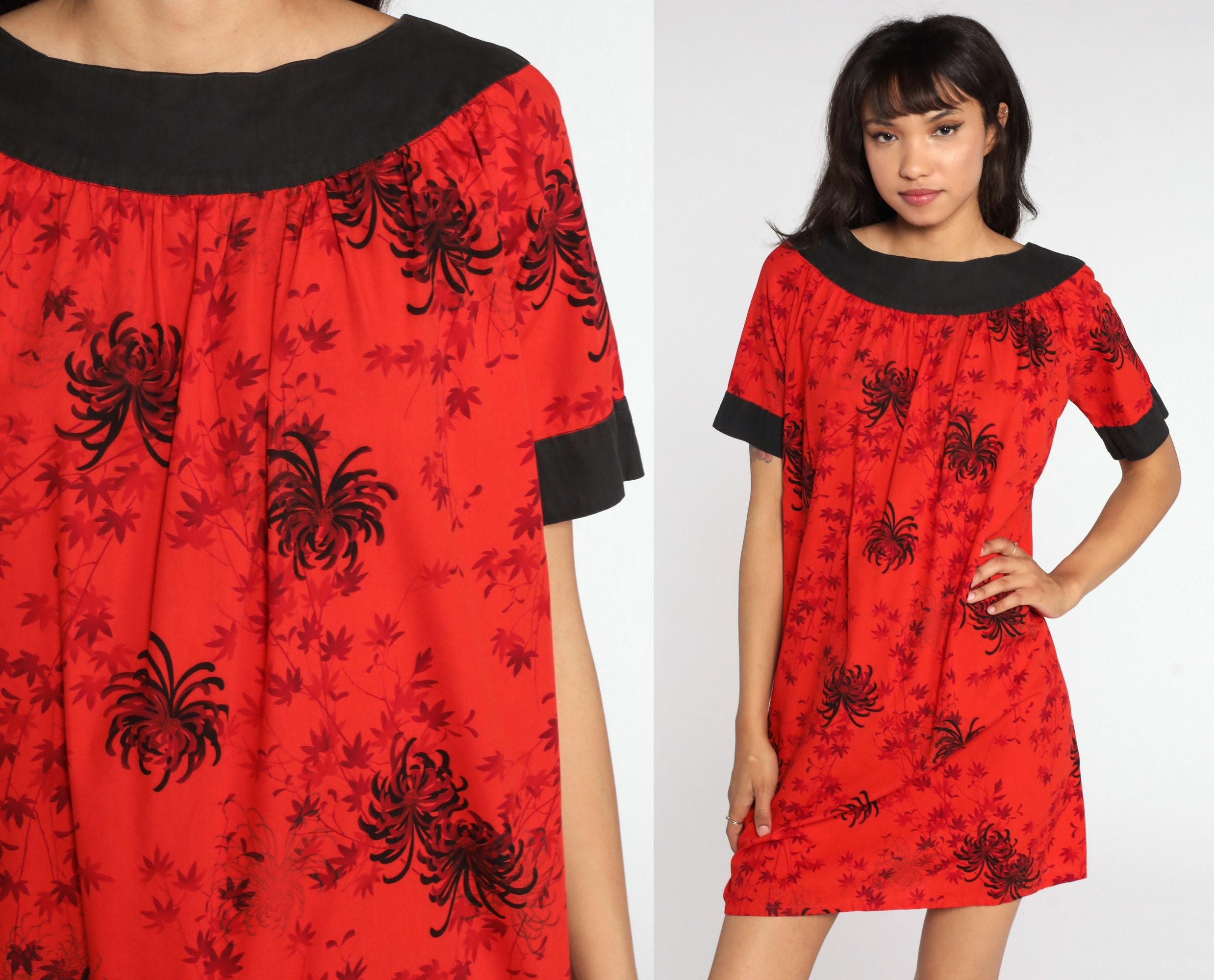 80s Dresses | Casual to Party Dresses Floral Mini Dress Black Red Tent Tropical Boho 80S Bohemian Vintage 1980S Retro Trapeze Short Sleeve Large $44.00 AT vintagedancer.com