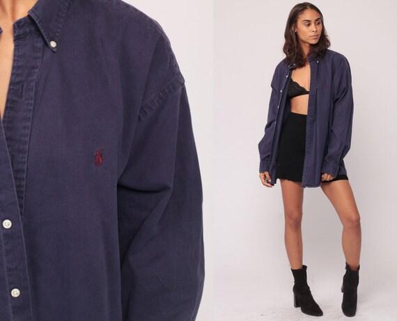 Ralph Lauren Shirt 90s Shirt Grunge Polo Sport Oxford Purple 1990s Long Sleeve Boyfriend Button Up Vintage Retro Oversize Extra Large xl