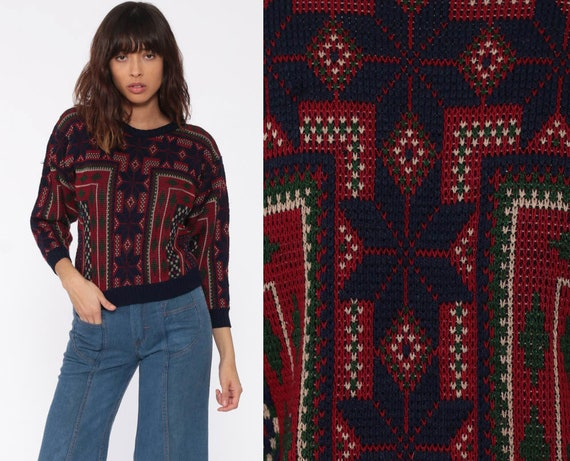 Fair Isle Sweater 80s Nordic Sweater Slouchy Knit Bohemian Burgundy Red Blue Winter Sweater 1980s Retro Boho Pullover Jumper Extra Small xs