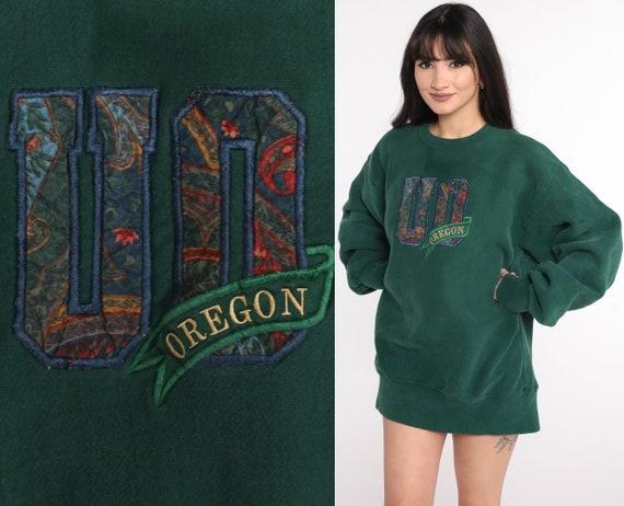 University of Oregon Sweatshirt 90s Sweatshirt College Sweatshirt Green Sports Jumper 1090s Sportswear Vintage Extra Large xl