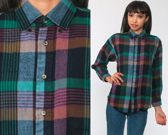 Plaid Blouse 80s Button Up Shirt Checkered Print Long Sleeve 1980s Top Vintage Hipster Green Pink Large l