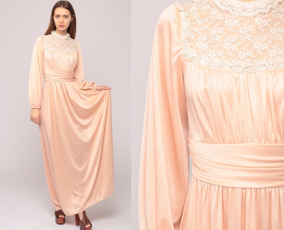 Bohemian Dress 70s Boho Lace GRECIAN Gown Maxi Long Peach Party High Waisted Wedding Long Sleeve 1970s Vintage Jersey Extra Small xs