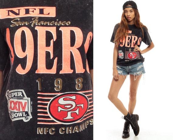 San Francisco 49ers Shirt 1989 Neon Football Tshirt NFC Champions Superbowl T Shirt Acid Wash California Tee 80s Sports Top Vintage Small xs
