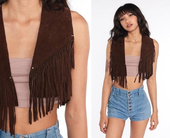 Suede Fringe Vest Top 70s Boho Cropped Brown Suede Leather Vest Coachella Western Hippie Festival Southwestern 1970s Bohemian Vintage Small