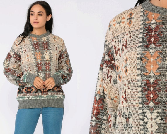 Tribal Sweater 80s Boho Aztec Geometric Print Grey Tan Cotton Grunge Slouchy 1980s Bohemian Vintage Pullover Jumper Knit Abstract Large