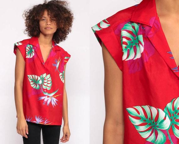 Tropical Shirt 80s Floral Blouse Hawaiian Shirt Cap Sleeve Shirt SURFER Button Up Shirt Vintage Vacation Red Shirt Small