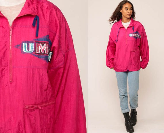 Neon Pink Windbreaker Jacket UMBRO Jacket 90s Hot Pink Nylon Shell Jacket Pullover Half Zip Vintage 1990s Retro Streetwear Sports Medium