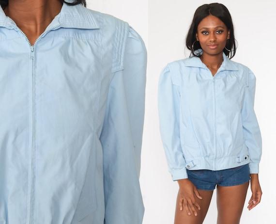 Puff Sleeve Jacket 80s Windbreaker Baby Blue Bomber Jacket Pastel Jacket Hipster Vintage 1980s Jacket Medium Short