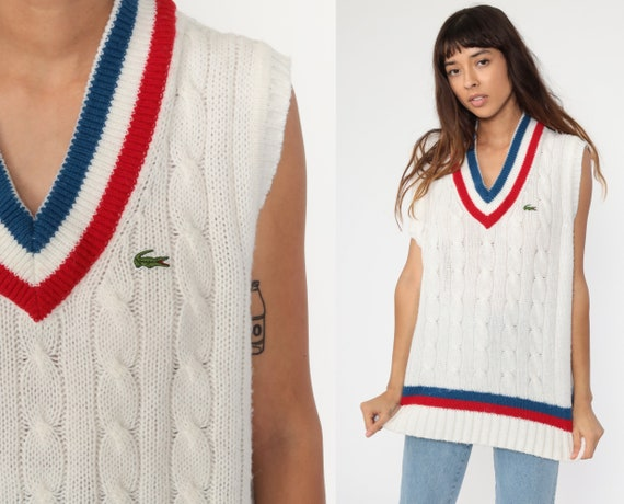 70s Lacoste Sweater Vest Top Tennis Vest Tank Top White Knit Retro Cable Knit Sleeveless Sweater Acrylic Red Blue V Neck 80s Medium Large