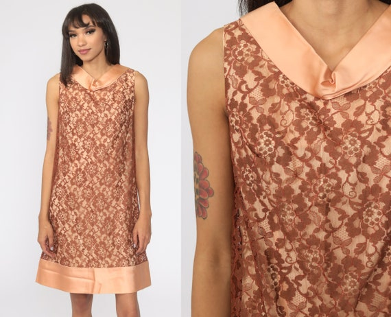 60s Lace Dress Brown Champagne Cocktail Mini 1960s Party Formal Mod Shift Vintage Mad Men Sleeveless Jackie O Evening Dress Small S