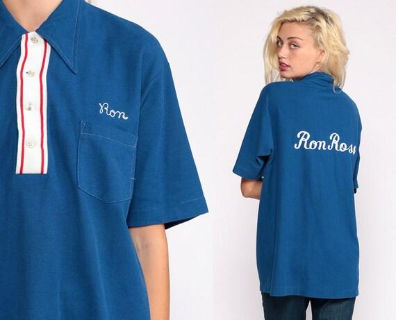 Uniform Shirt RON ROSS Shirt 70s Shirt Name Shirt Bowling Rockabilly Punk 1970s Button Up Vintage Extra Large xl