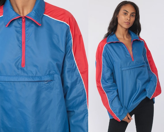 80s Windbreaker Jacket -- SHELL Jacket Blue Red Pullover Quarter Zip Pullover Striped Wrangler Thin Light Sportswear Extra Large xl