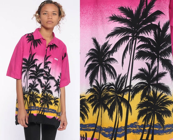 80s Tropical Button Up Shirt -- Palm Trees Bahamas Pink Yellow 1980s Tropical Unisex Pocket Tee Vacation Sunset TShirt Top Medium Large