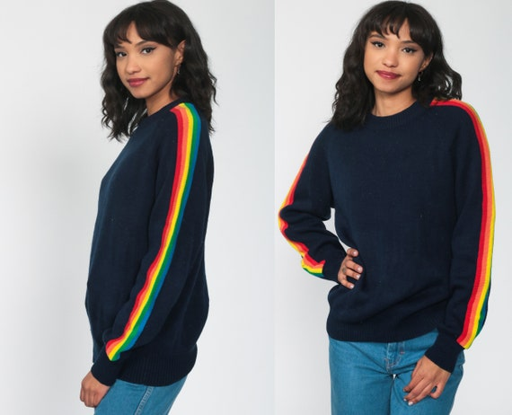 Rainbow Sweater 80s Navy Blue Striped Knit Jumper Pullover Ski Slouchy 70s Boho Slouch Vintage Retro Raglan Sleeve Bohemian Small Medium