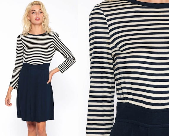 70s Striped Dress Blue 60s Mod Mini High Waisted Vintage 1970s Long Sleeve Simple Pleated Minidress Navy White Twiggy Extra Small xs s