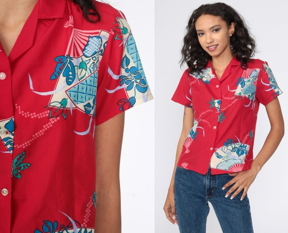 Tropical Butterfly Shirt Fan Print Floral Blouse Button Up 1980s Blouse Red Short Sleeve Top 80s Vintage Summer Medium
