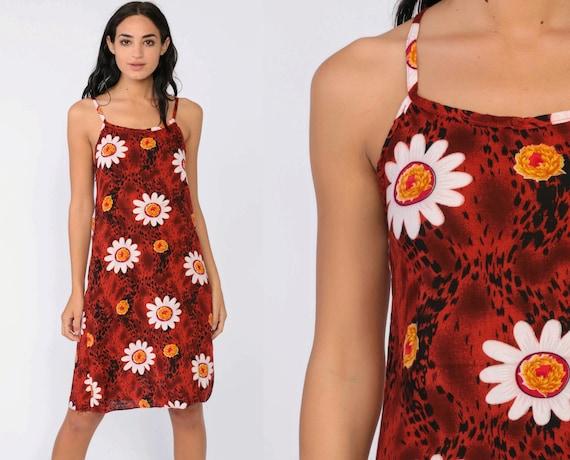 90s Floral Dress Red Daisy Grunge Midi Dress 1990s Sundress Rayon Keyhole Summer Dress Spaghetti Strap Vintage Summer Tank Small xs