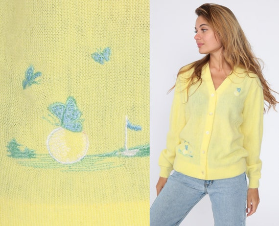 Embroidered Butterfly Sweater -- 70s Cardigan Golf Sweater Button Up Yellow Slouchy Boho Vintage 1970s Retro Nerd Bohemian Medium