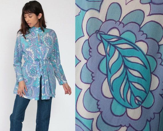 Psychedelic Shirt 70s WRAP FRONT Blouse Mod Hippie Blouse Boho Shirt Paisley Long Sleeve Vintage 1970s Space Age Blue Purple Small Medium