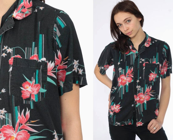 90s Hawaiian Black Shirt -- 1990s Tropical Blouse Pink Floral Print Button Up 1990s Vacation Top Beach Pocket Tee Tourist Small