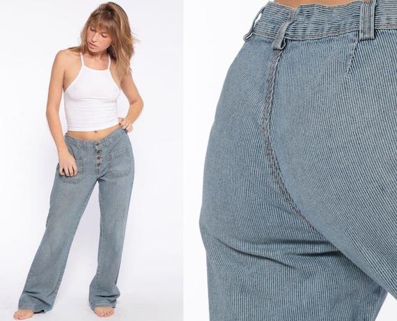 Striped Osh Kosh Jeans Vintage 90s Oshkosh Jeans High Waisted Jeans Denim Pants Straight Leg Button Fly Blue Jeans Small Medium 6