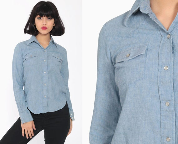 Chambray Button Up Shirt xxs Pearl Snap Western Shirt 70s Blue Cotton Blouse Hippie Boho 1970s Long Sleeve Vintage Oxford Extra Small xs