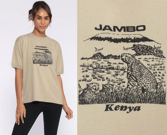 Jambo Kenya Shirt CHEETAH TShirt Africa Safari Animal Shirt 80s Graphic Tee Retro Screen Print Big Cat Vintage 1980s Medium Large