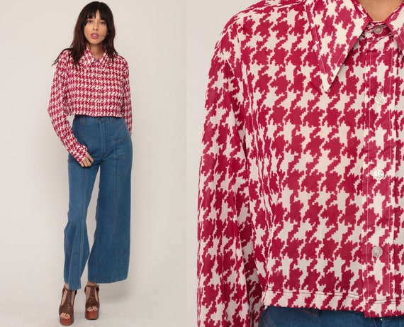 Checkered Crop Top HOUNDSTOOTH Shirt 70s Long Sleeve Shirt Red Plaid Blouse Button Up Hipster Retro Shirt Vintage Large