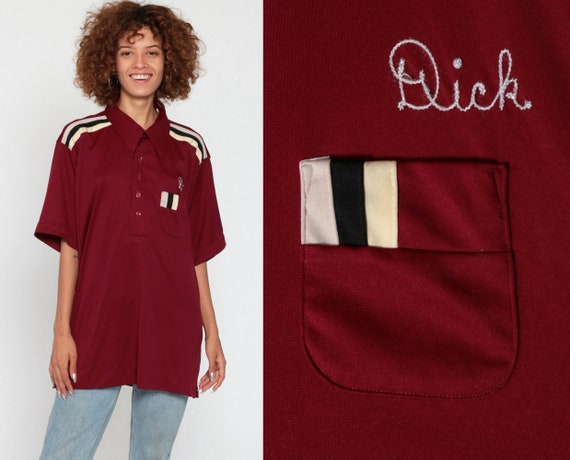 Dick Sparks Uniform Shirt Bowling Shirt 70s Name Shirt Precision Auto-Body Rockabilly Punk 1970s Button Up Vintage Burgundy Extra Large xl