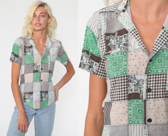 Patchwork Rodeo Shirt Hippie Blouse Western Cowboy Button Up 70s Boho Top Hipster Short Sleeve 1970s Bohemian Vintage Small