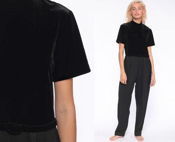 Black Velvet Jumpsuit 12 -- 90s Jumpsuit TAPERED Pants Purple Romper One Piece Pantsuit Outfit Vintage Romper High Neck 1990s Large 12