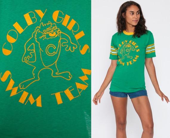 Date A Swimmer Shirt 80s COLBY GIRLS Swim Team Shirt Taz Looney Tunes Green Ringer Tee 1980s Tasmanian Devil Retro Vintage Extra Small XS