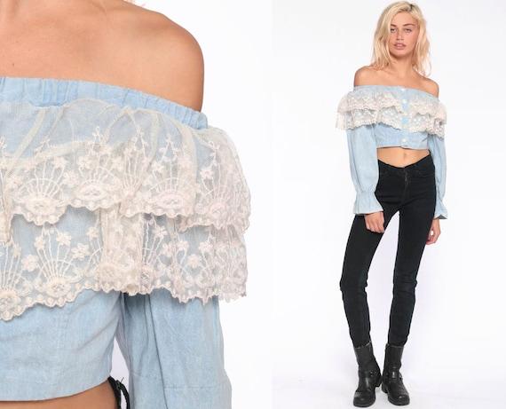 Off Shoulder Blouse -- 80s Lace Top Denim Shirt Hippie Boho Shirt Crop Top FESTIVAL Bohemian Vintage Retro Blue Cream Ruffle Extra Small xs