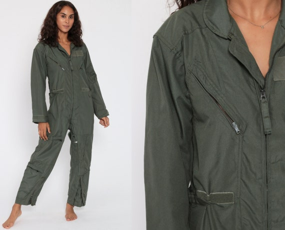 Military Jumpsuit Flying Coveralls Zip Up Grunge Pantsuit Cotton Vintage Long Sleeve Romper Olive Green Fire Resistant Small Medium Short