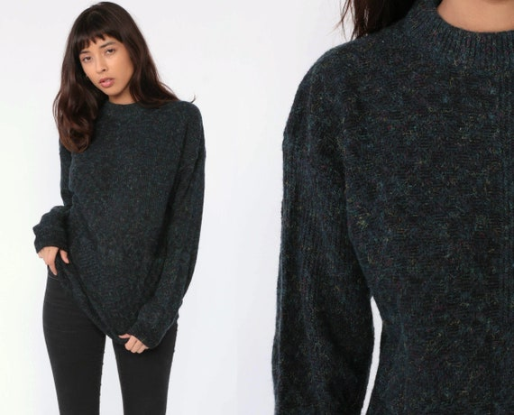 Wool Blend Sweater Knit 80s Slouchy Pullover Blue Flecked Jumper Grunge 1980s Vintage Retro Nerd Medium