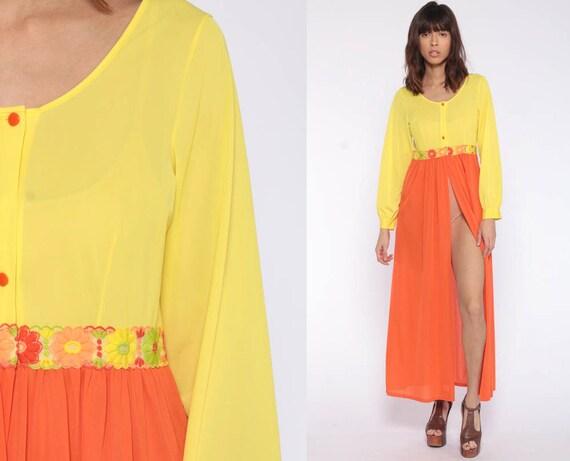 Nightgown Lingerie Slip Dress 70s Maxi Boho HIGH SLIT Lounge Wear Long Sleeve Yellow Orange Nightgown Nylon Vintage Sheer Extra Small xs