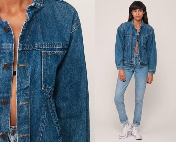 Blue Jean Jacket 80s Denim Jacket Trucker Stone Wash 1980s Vintage Biker 90s Grunge Hipster Coat Small