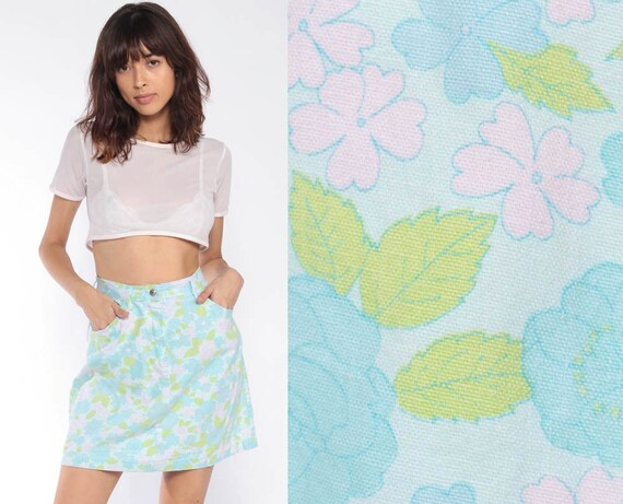 70s Mini Skirt -- Floral Skirt High Waisted Hippie Boho Skirt Pastel Blue Pink Print Retro Bohemian Vintage Cotton A-Line Extra Small xs