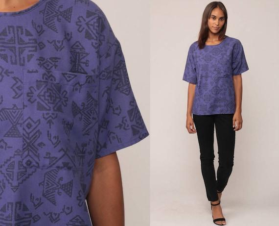 Aztec Tshirt Tribal Shirt Grunge Tee Southwest 80s Surfer Southwestern 90s T Shirt Purple Pocket Short Sleeve Medium Large