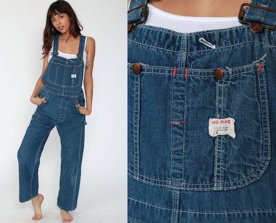 Big Mac Overalls Pants xs Jeans 80s Denim Bib Overalls Pants Baggy Blue Long Jean Dungarees Workwear 1980s Vintage Work Extra Small xs