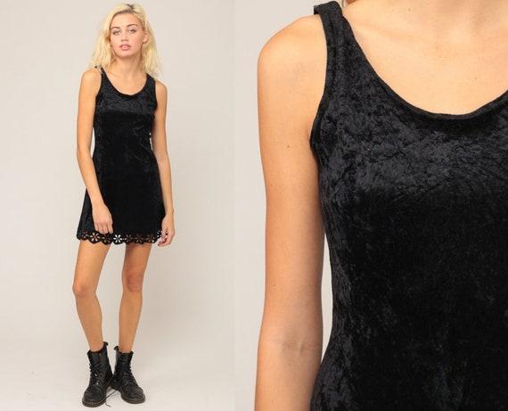 Black Velvet Dress 90s Mini Party FLORAL CUTOUTS Grunge BODYCON Sleeveless 1990s Gothic Vintage Goth Minidress Tank Dress Small