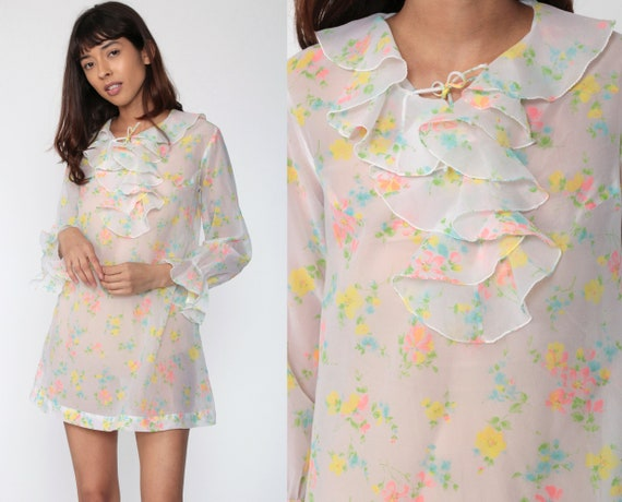 60s Mini Dress Sheer Ruffle TUXEDO Dress Floral Twiggy 70s Shift White Boho Long Sleeve Vintage Party Minidress Bohemian Medium