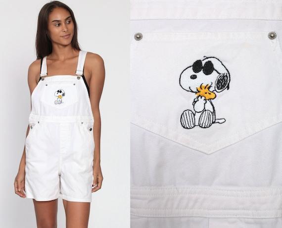 White Overalls Shorts 90s SNOOPY Overalls Bib Shortalls Denim Romper Playsuit Grunge Cotton Suspender Woman 1990s Vintage Kawaii Medium