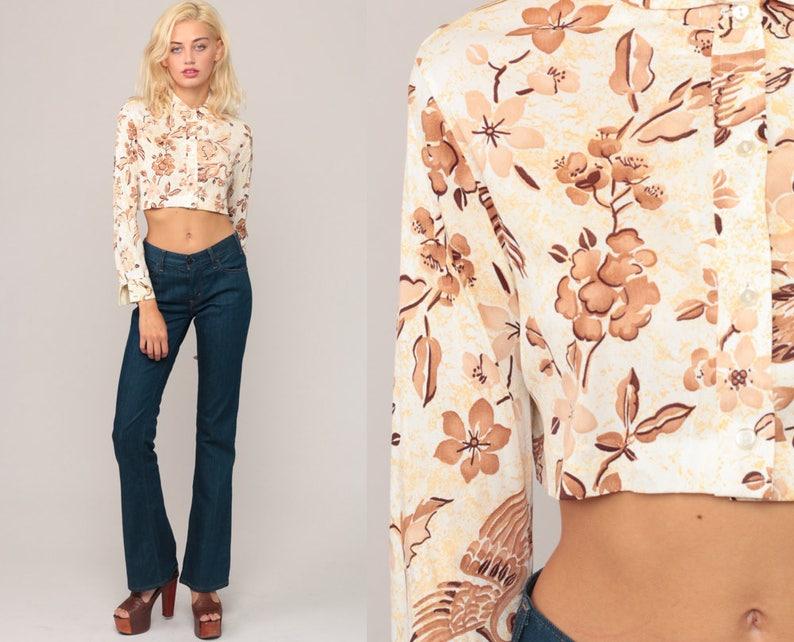 16beec8ae Bird Shirt Floral Blouse 70s Boho Crop Top PETER PAN COLLAR